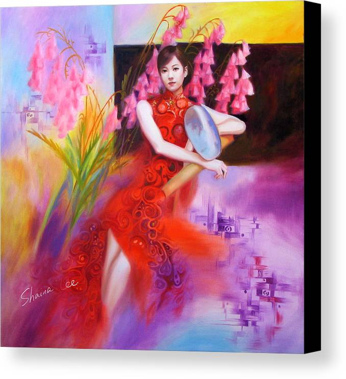 Red Canvas Print featuring the painting Red Dress by Shaina Lee