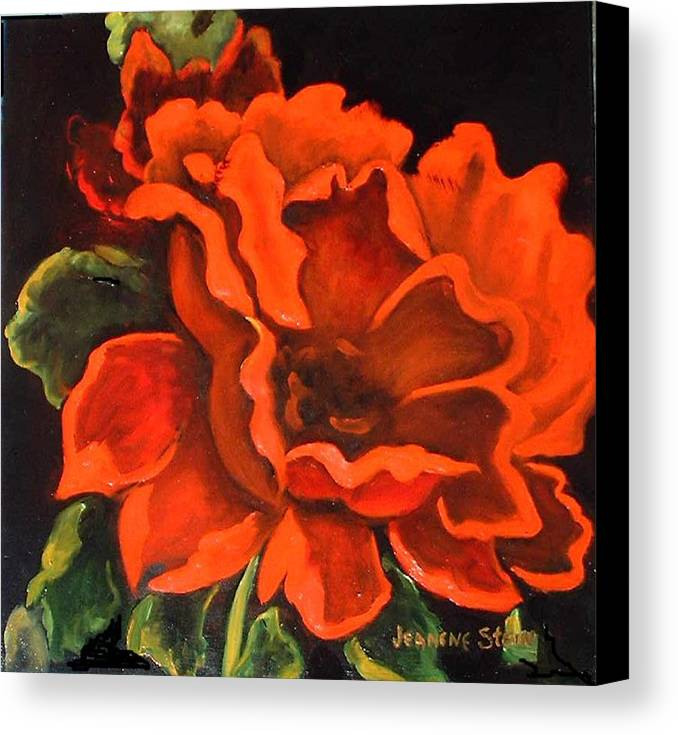 Red Flower Canvas Print featuring the painting Red Flower by Jeanene Stein