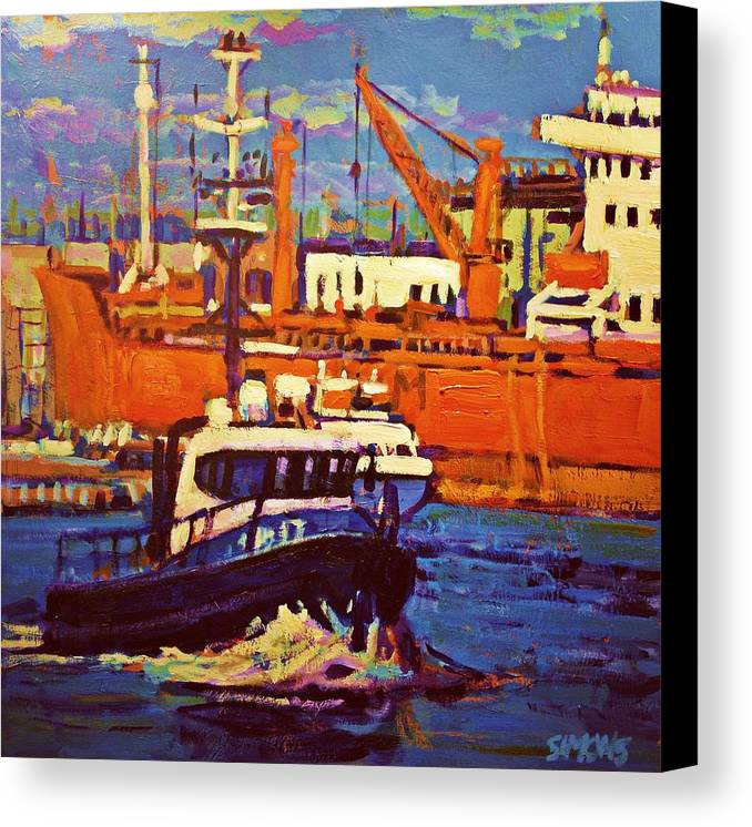 Boats Canvas Print featuring the painting Red Freighter by Brian Simons