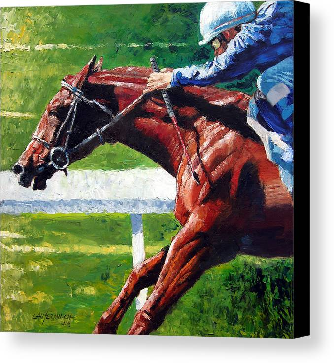 Horse Race Canvas Print featuring the painting Running Towards The Light by John Lautermilch
