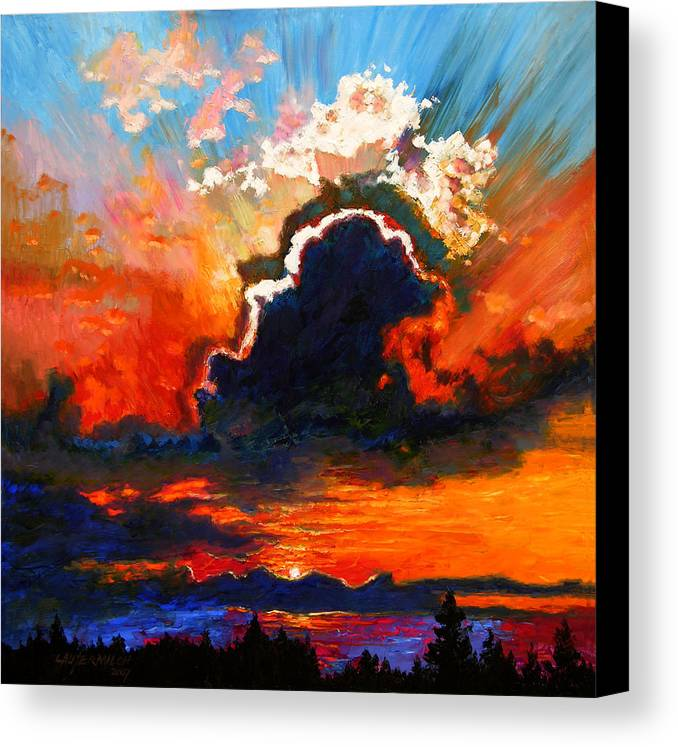 Landscape Canvas Print featuring the painting Some Glad Morning by John Lautermilch