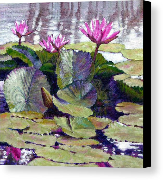 Water Lilies Canvas Print featuring the painting Summer Breeze by John Lautermilch