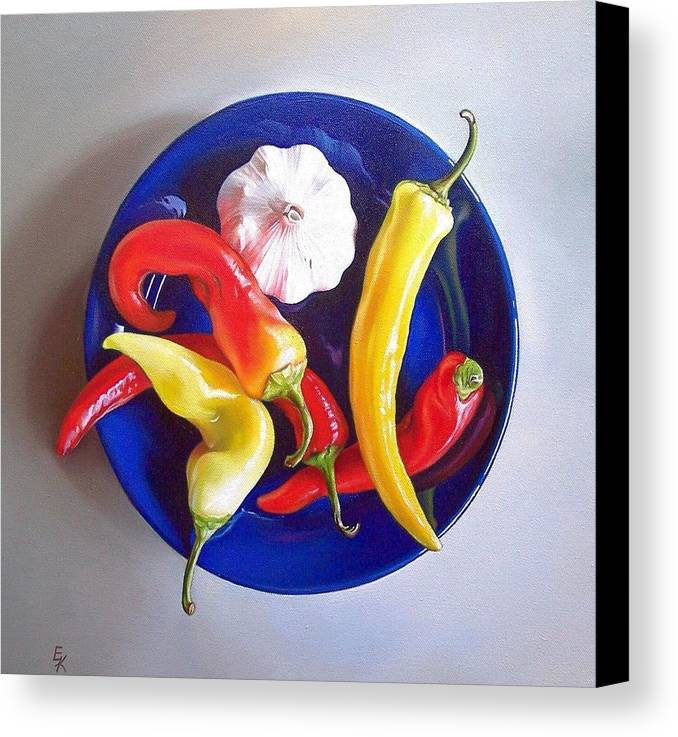 Still Life Canvas Print featuring the painting Summer Plate 1 by Elena Kolotusha