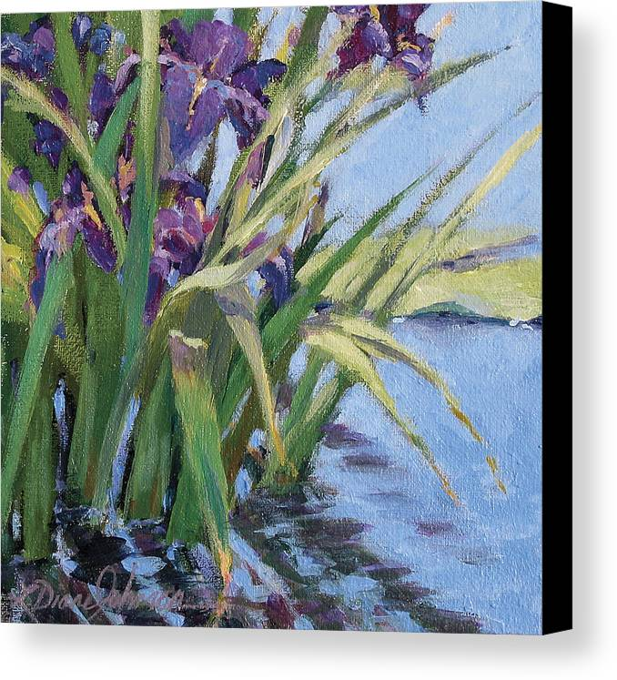 Purple Iris In Water Canvas Print featuring the painting Sun Day - Iris In A Pond by L Diane Johnson