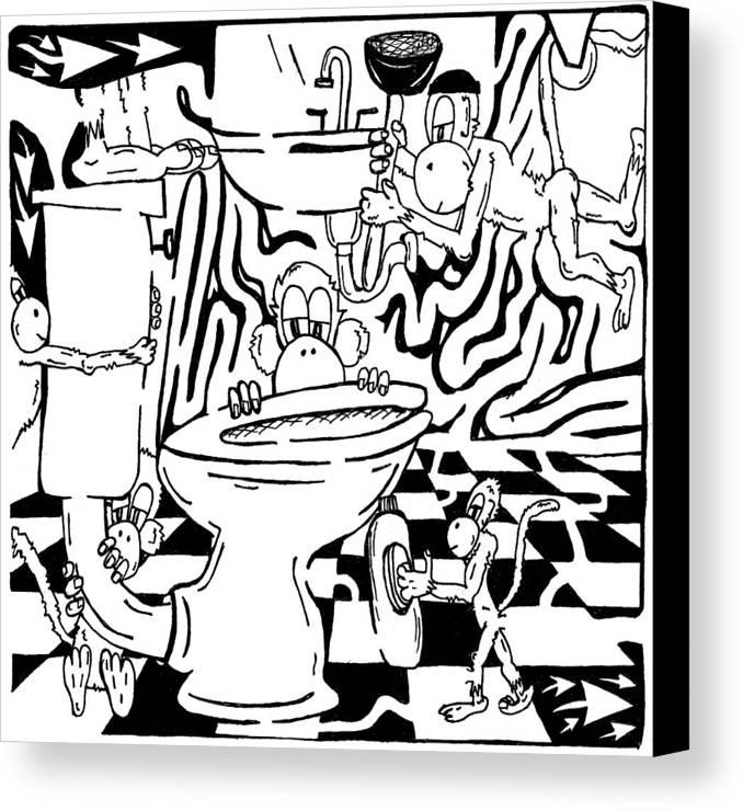 Team Of Monkeys Canvas Print featuring the drawing Team Of Monkeys Plumbers Maze by Yonatan Frimer Maze Artist