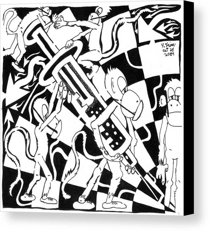 Team Of Monkeys Canvas Print featuring the painting Team Of Monkeys Swine Flu H1n1 Vaccine by Yonatan Frimer Maze Artist