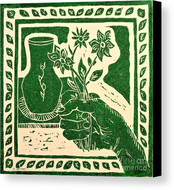 Still-life With Hand Canvas Print featuring the relief The Florist by Caroline Street