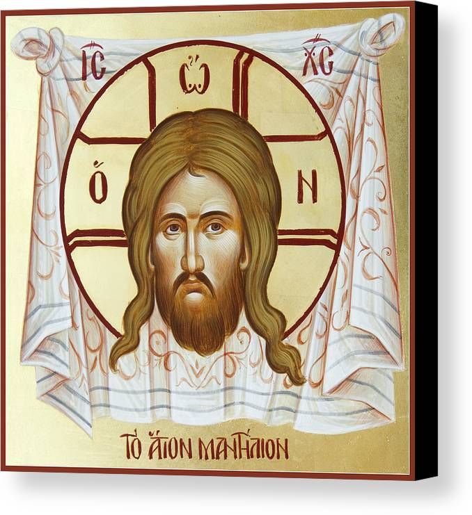 Holy Napkin Canvas Print featuring the painting The Holy Napkin by Julia Bridget Hayes