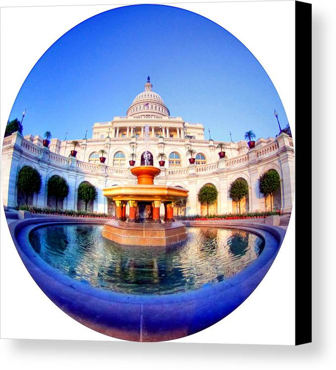 Capitol Canvas Print featuring the photograph The Law Of Gravitation by Mitch Cat