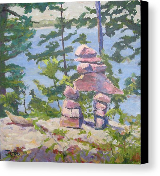Cairn Canvas Print featuring the painting The Right Path by Jude Lobe
