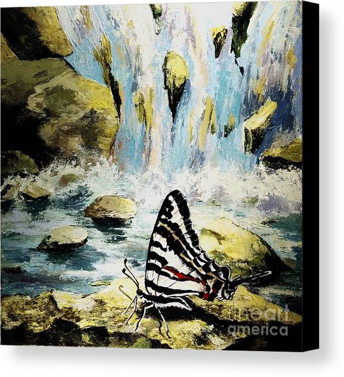 Acrylic Canvas Print featuring the painting The Silence Of The Waterfall 2 by Elisabeta Hermann