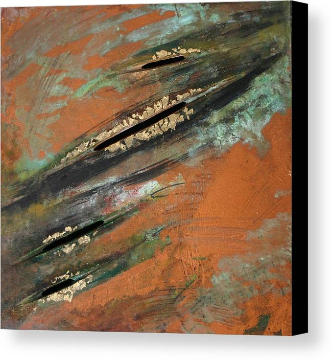 Copper Canvas Print featuring the painting Transitory Marks Iv by Dodd Holsapple