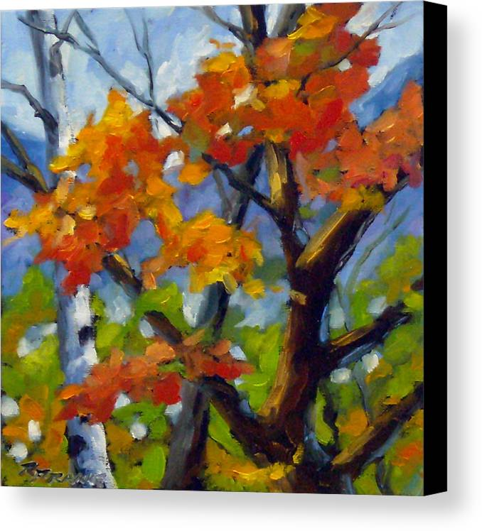 Art For Sale Canvas Print featuring the painting Tree Tops by Richard T Pranke