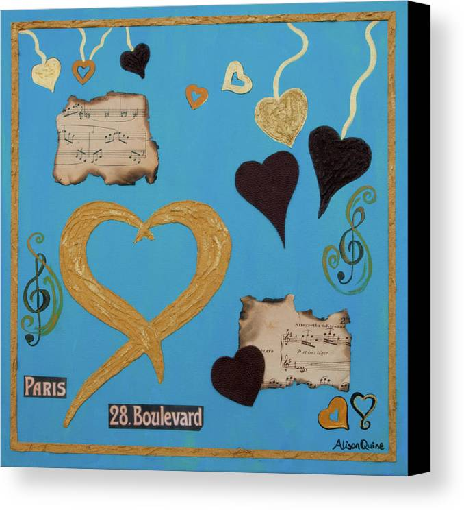 Hearts Canvas Print featuring the mixed media Turquoise Boutique Hearts by Alison Quine