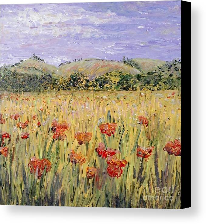 Poppies Canvas Print featuring the painting Tuscany Poppies by Nadine Rippelmeyer