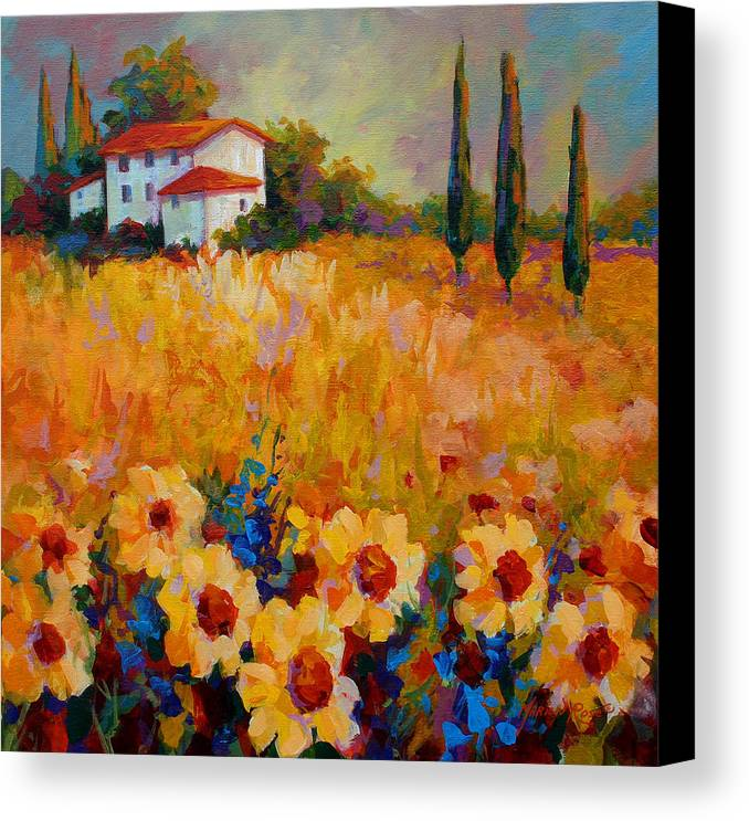 Tuscany Canvas Print featuring the painting Tuscany Sunflowers by Marion Rose