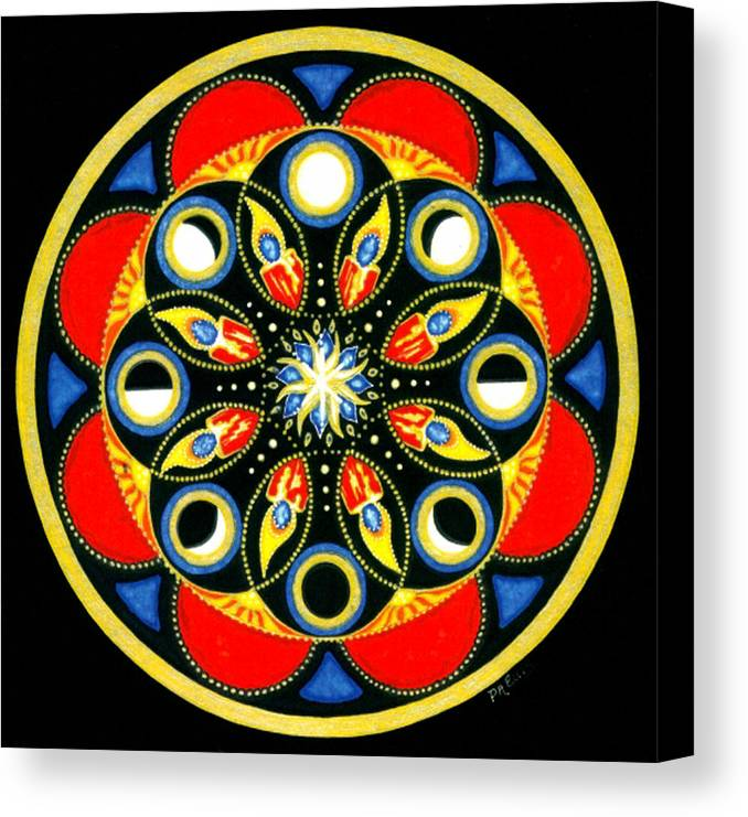 Meditative Mandala Canvas Print featuring the painting Universal Light Mandala by Pam Ellis
