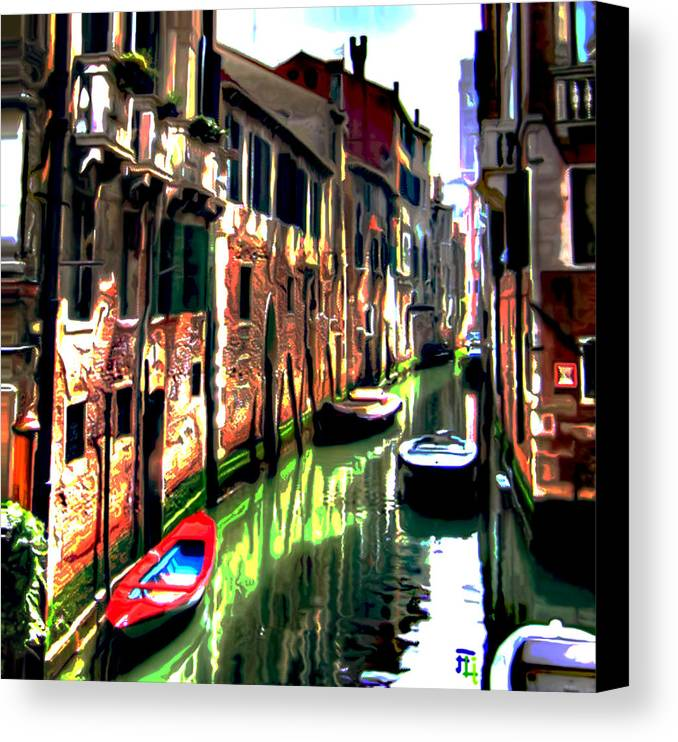 Canals Canvas Print featuring the painting Venice Canal by Fli Art