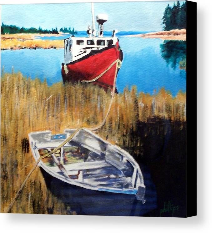 Ship Canvas Print featuring the painting Wetland Taxi by Jim Phillips