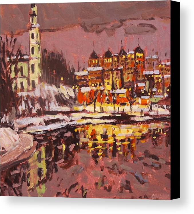 Landscape Canvas Print featuring the painting Winter Eve by Brian Simons