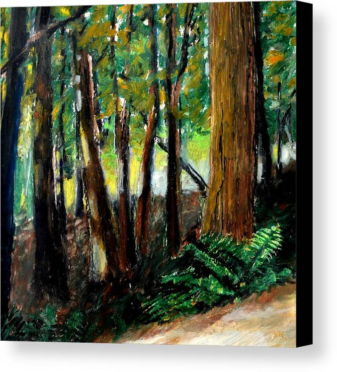 Livingston Trail Canvas Print featuring the drawing Woodland Trail by Michelle Calkins