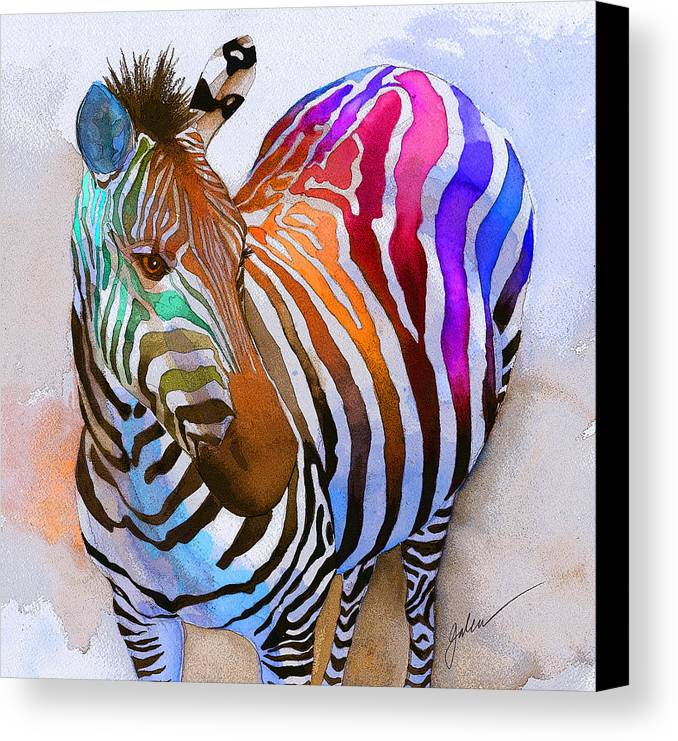 Colorful Canvas Print featuring the painting Zebra Dreams by Galen Hazelhofer