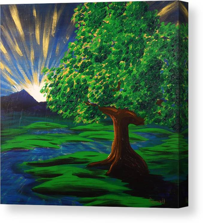 Tree Canvas Print featuring the painting Arise Shine by Gary Rowell