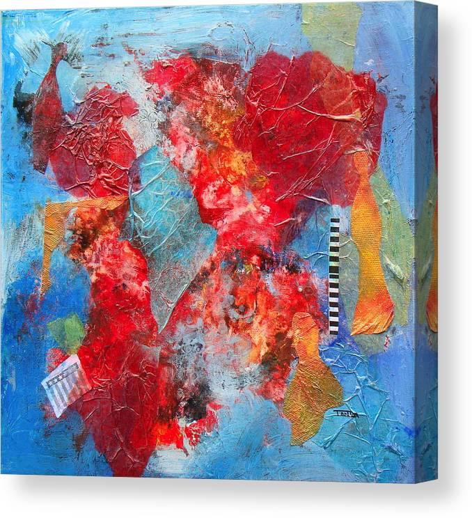 Red Canvas Print featuring the painting Exquisite Planet by Tonya Schultz