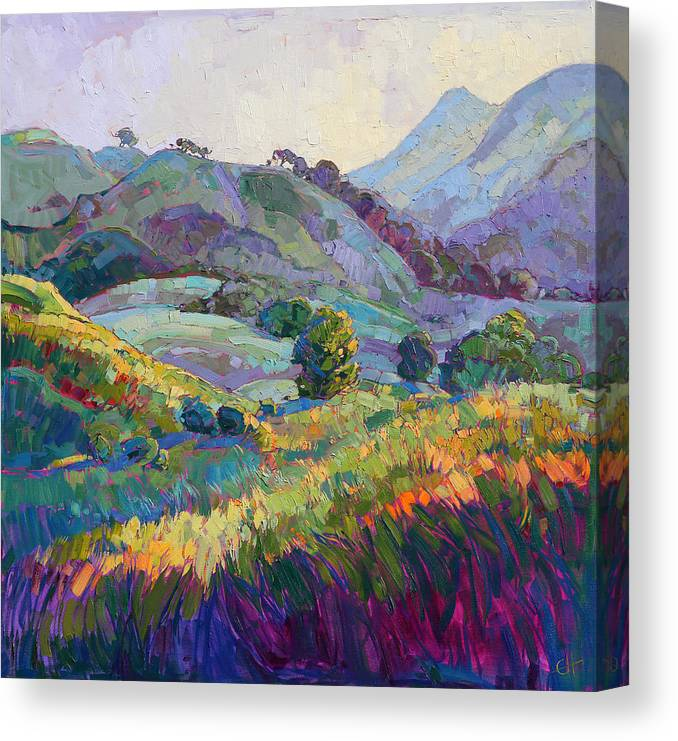 Paso Robles Canvas Print featuring the painting Jeweled Hills by Erin Hanson