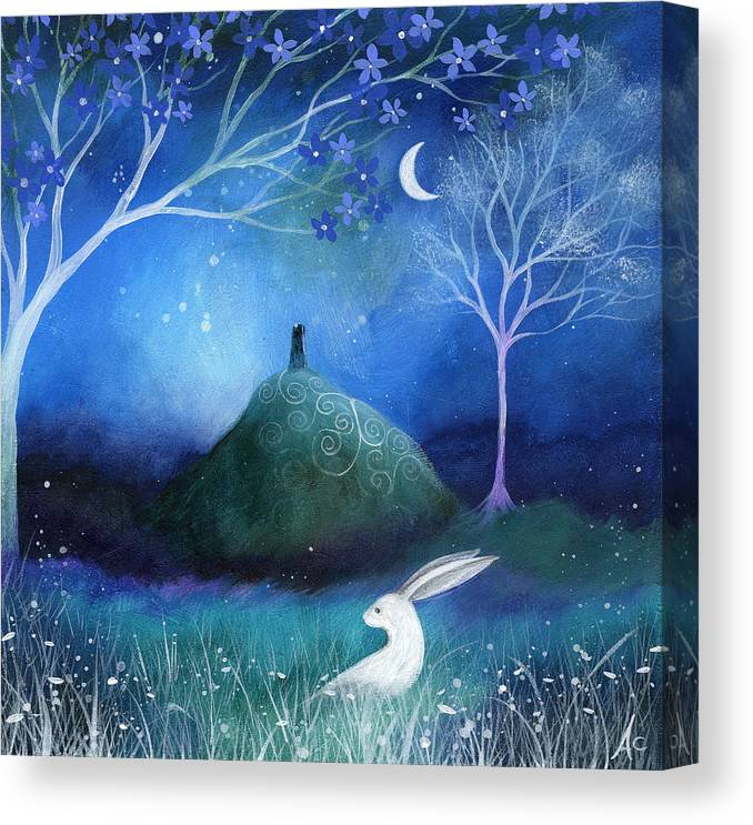 Landscape Canvas Print featuring the painting Moonlite And Hare by Amanda Clark