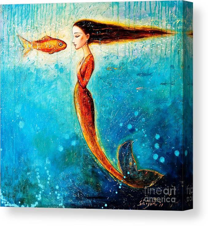 Mermaid Art Canvas Print featuring the painting Mystic Mermaid II by Shijun Munns