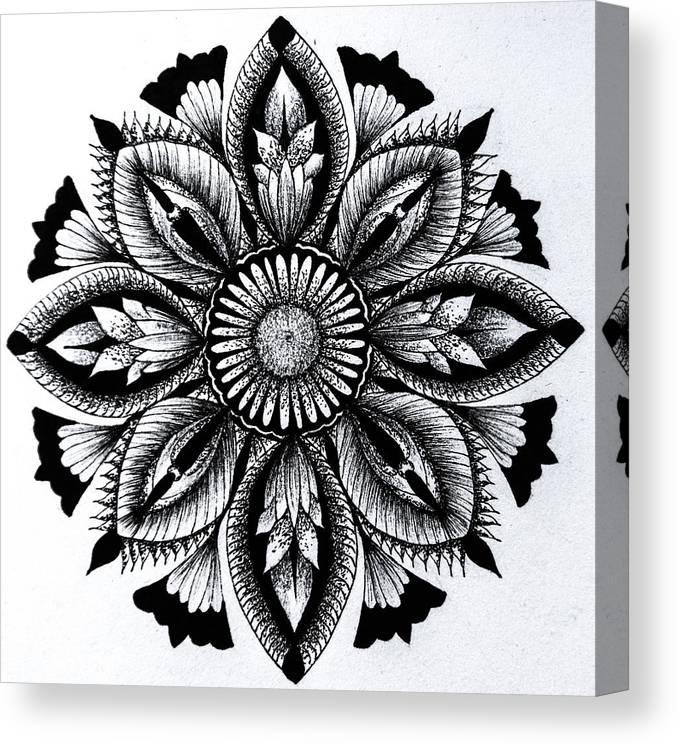 #mandala #circle #geometry Canvas Print featuring the drawing Oblivion by Skaiste Kodyte