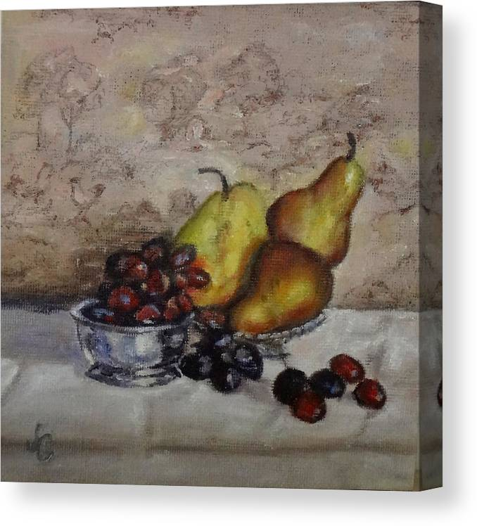 Small Paintings Canvas Print featuring the painting Pears And Grapes by Jennifer Calhoun