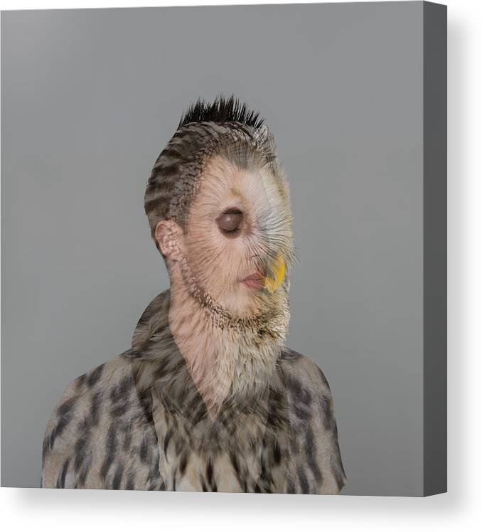 People Canvas Print featuring the photograph Portrait Of Young Man With Owl Overlay by Nisian Hughes