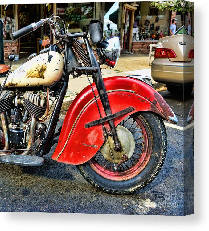 Paul Ward Canvas Print featuring the photograph Vintage Indian Motorcycle - Live To Ride by Paul Ward