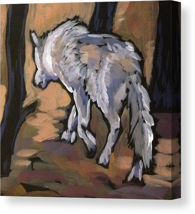 Wolf Canvas Print featuring the painting Winter Wolf by Kat Corrigan