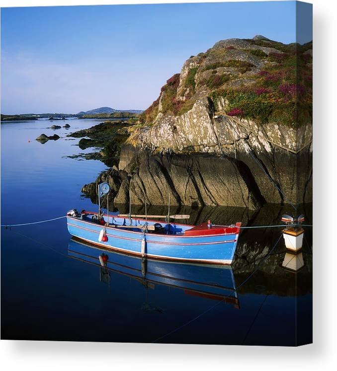 Blue Sky Canvas Print featuring the photograph Roaringwater Bay, Co Cork, Ireland Boat by The Irish Image Collection