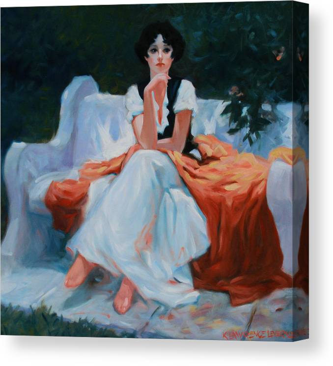 Portrait Canvas Print featuring the painting Pensive Pose by Kevin Lawrence Leveque