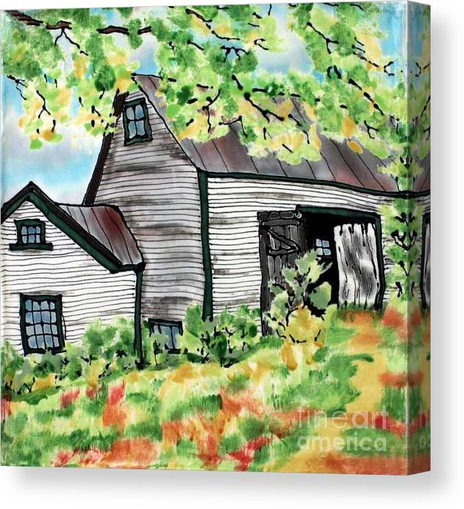 Silk Painting Canvas Print featuring the painting August Barn by Linda Marcille