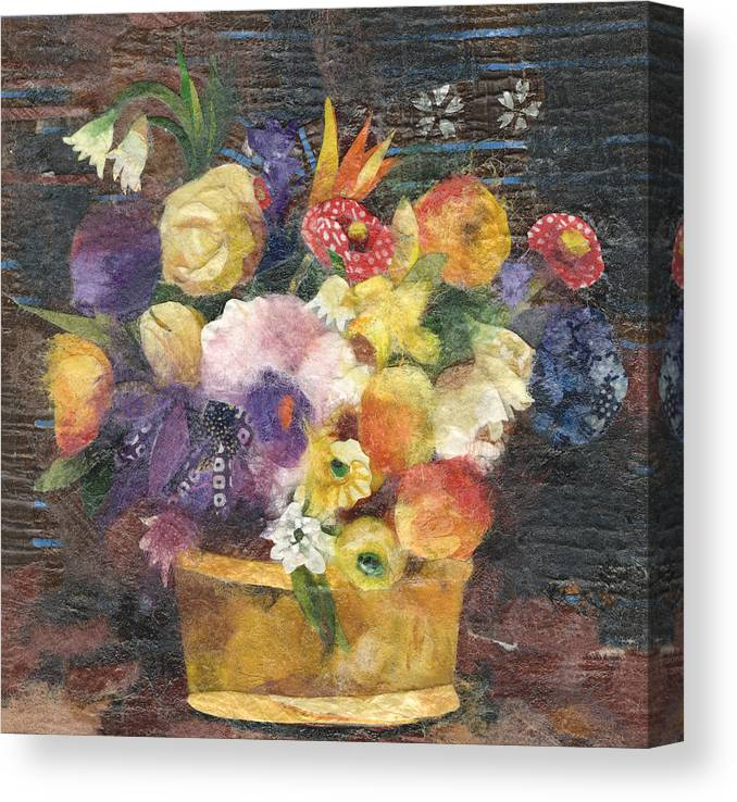 Limited Edition Prints Canvas Print featuring the painting Basket With Flowers by Nira Schwartz