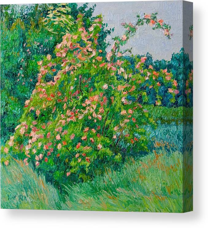 Blossoming Canvas Print featuring the painting Blossoming Bush Landscape by Vitali Komarov