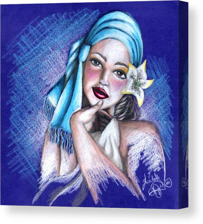 Portrait Canvas Print featuring the drawing Blues by Scarlett Royal