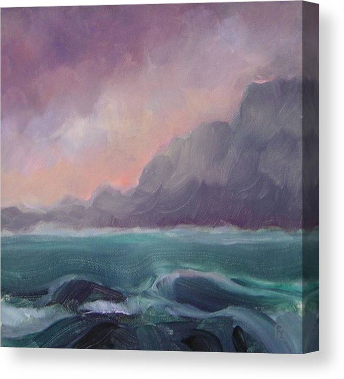 Seascape Canvas Print featuring the painting Brooding Tide by Mary Brooking