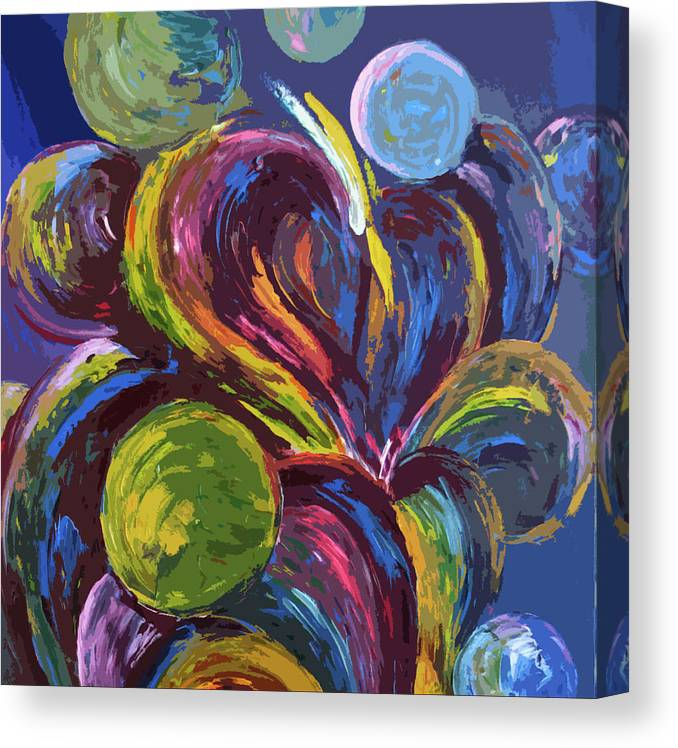 Oil Canvas Print featuring the painting Bubble Fun by Lonnie Tapia