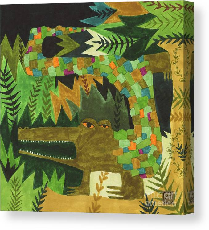 Crocodile Canvas Print featuring the painting Crocogator by Kate Cosgrove