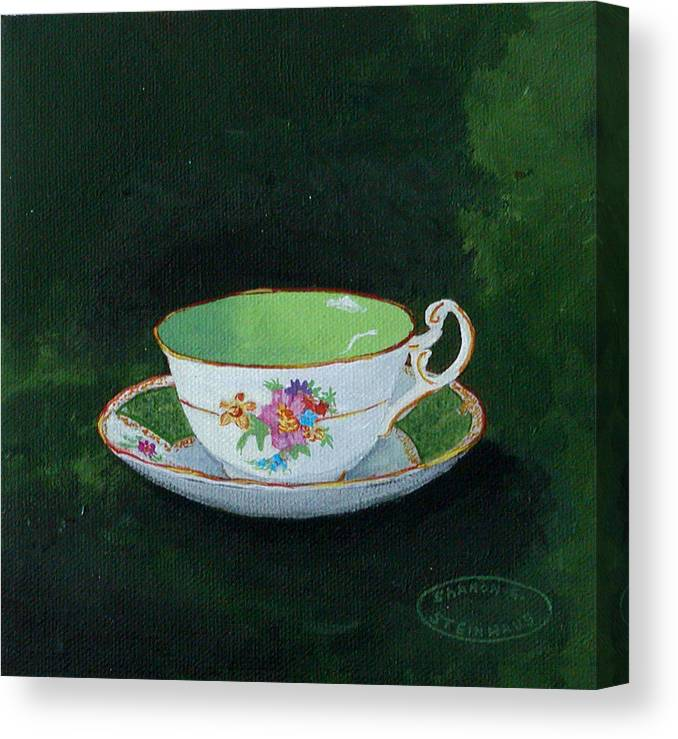 Cup And Saucer China Original Acrylic Painting Canvas Print featuring the painting Green Teacup by Sharon Steinhaus