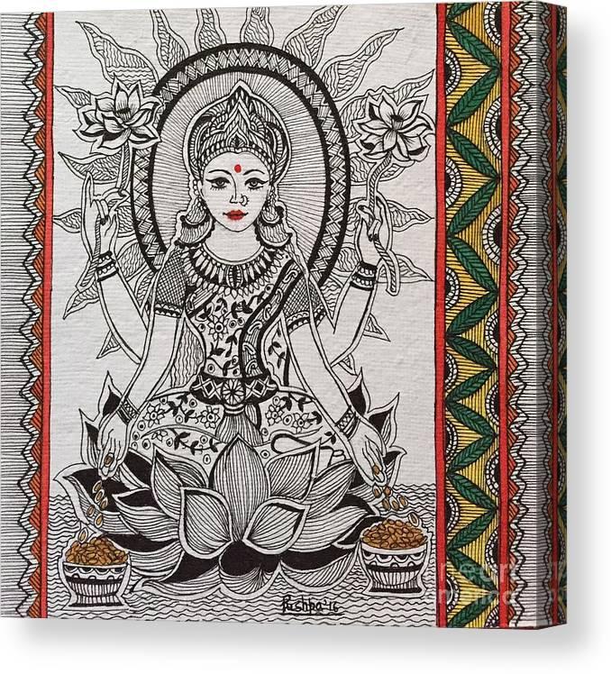 Hindu Canvas Print featuring the drawing Goddess Laxmi - Madhubani by Pushpa Sharma