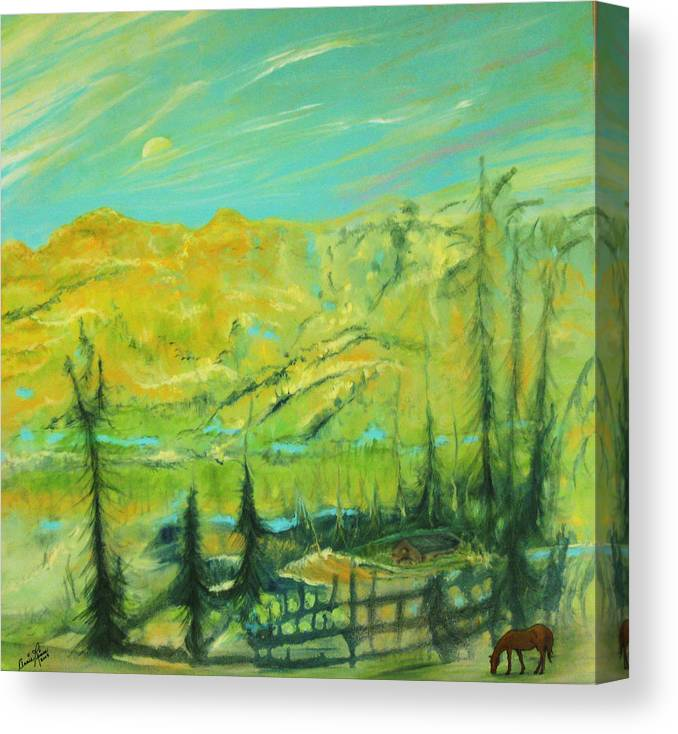 Contemporary Landscape Canvas Print featuring the painting La Paix by Annie Rioux