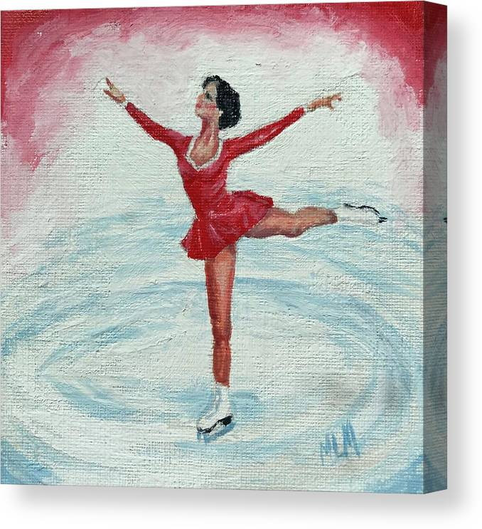 Red Canvas Print featuring the painting Olympic Figure Skater by ML McCormick