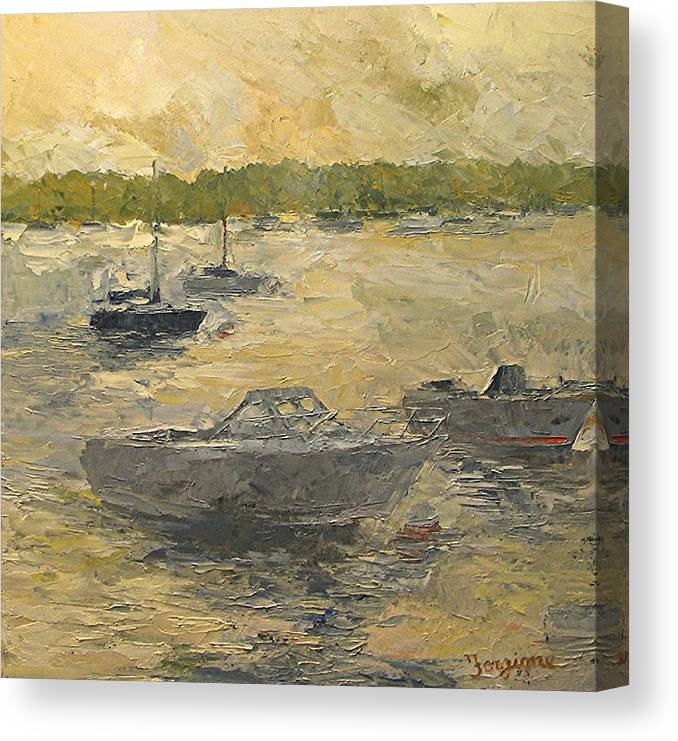 On The Bay Canvas Print featuring the painting On The Bay by Tom Forgione
